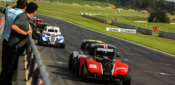 Ben Power in the Guttercrest Racing #55 leads a pack of Legend Cars while breaking the track record at Snetterton in Norfolk, UK.